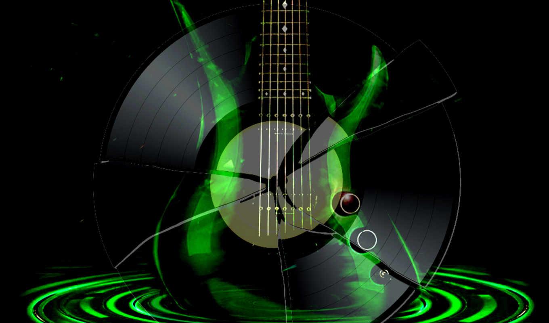 гитара, пластинка, черный, зеленый,