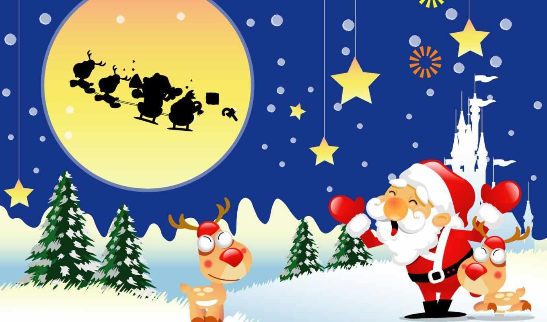 рождество, снег, год, елка, новый, олень,
