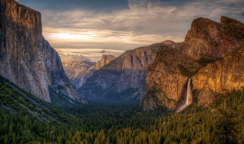 парк, ациональный, йосемити, небо, горы, водопад, лес, hdr, картинка,