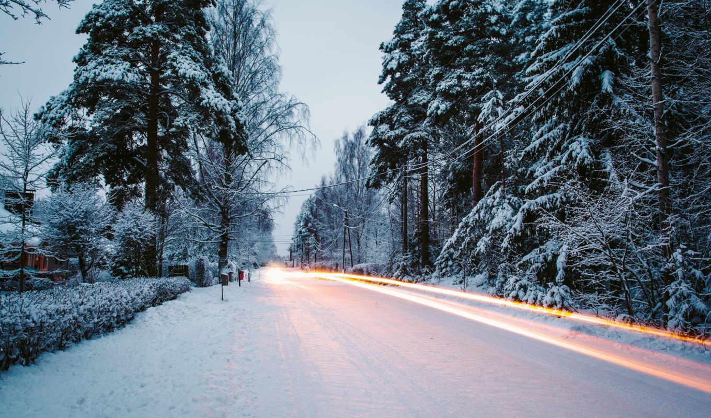 дорога, winter, снег, природа, лес, елки, деревья,