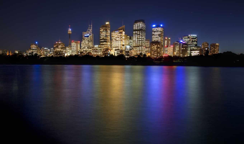 ночь, австралия, сидней, downtown,