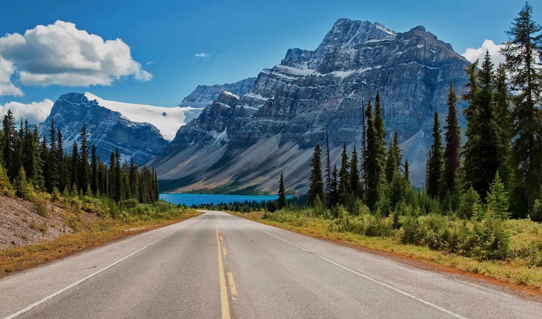 альберта, озеро, канада, банф, горы, national, канадский, park, rockies,