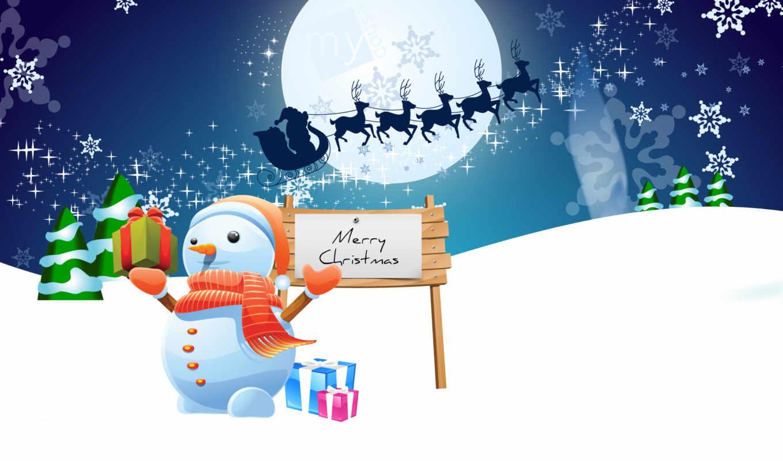 праздник, winter, снеговик, снежинки, елки, снег, дек, год,