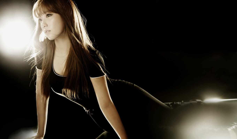 girls, black, taeyeon, поколение, snsd, women, волосы, девушка,