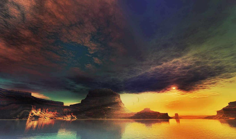 горы, вода, небо, картинку, картинка,