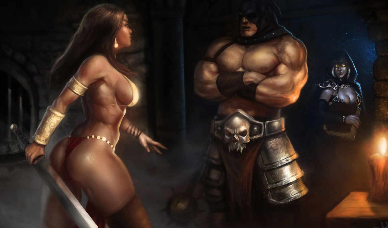 меч, капюшон, девушка, фэнтези, воин, волшебница,