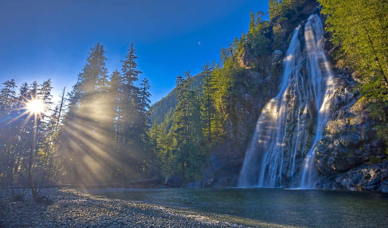 природа, водопад, канада, лес, река, sun,
