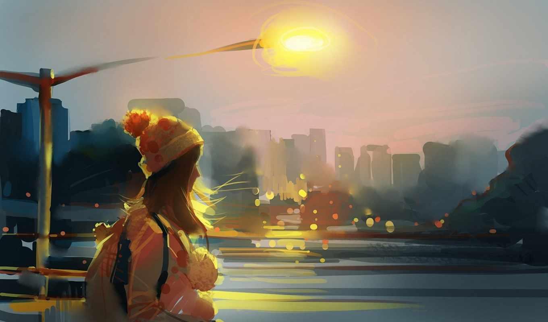девушка, art, ветер, река, город, рюкзак, шапка, lantern, devushki,