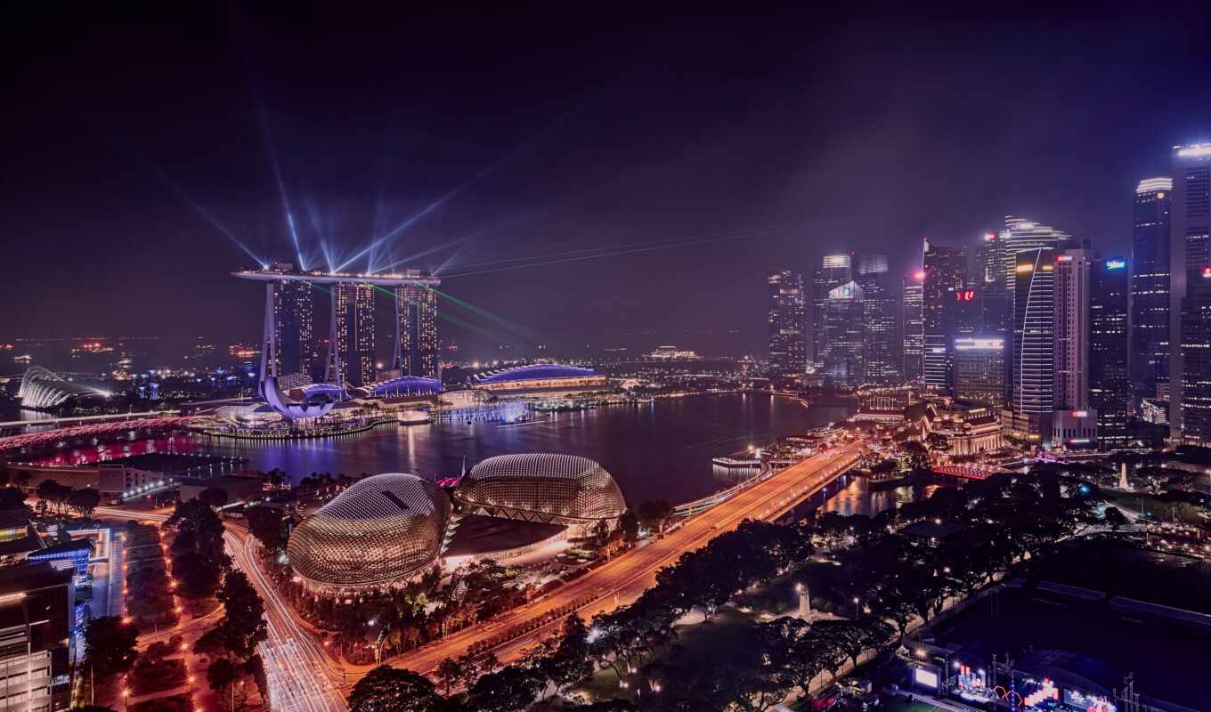 singapore, город, building, ночь, national, gallery, water, build, во