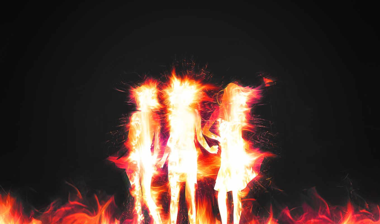 девушки, иконка, огненный,