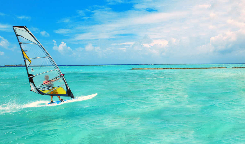 море, вода, спорт, windsurfing, природа, волны,