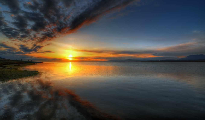 нечто, закат, день, небо, oblaka, лунно,