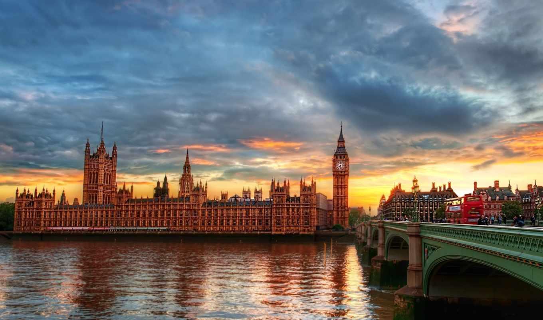 биг, бен, london, города, река,