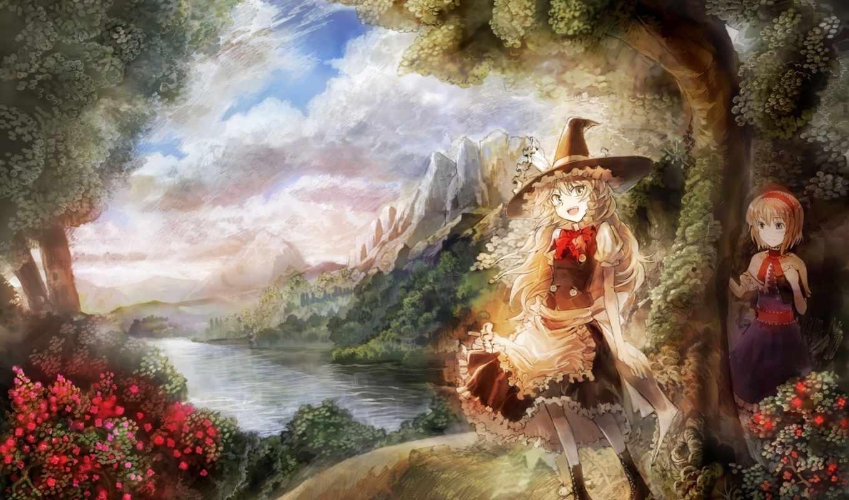 anime, река, witch, горы, природа, девочки, шляпа,