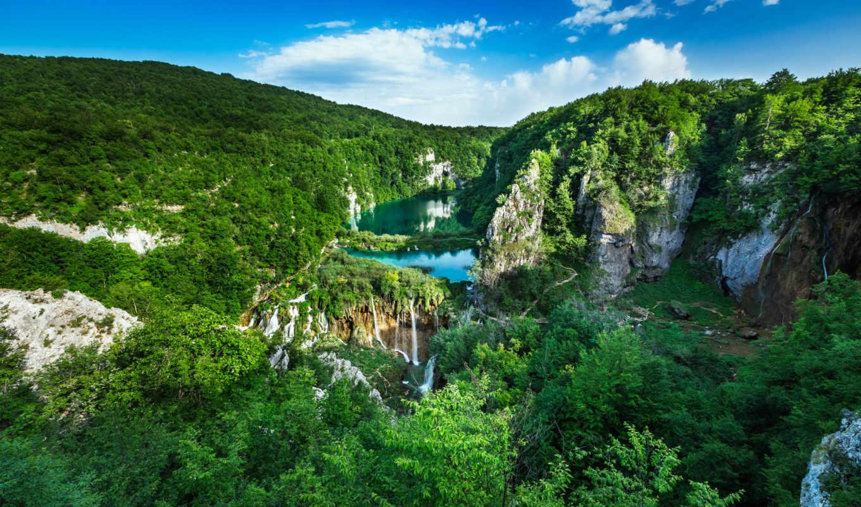 хорватия, природа, водопад, лес, national, park, горы, плитвицкие, красиво, landscape,