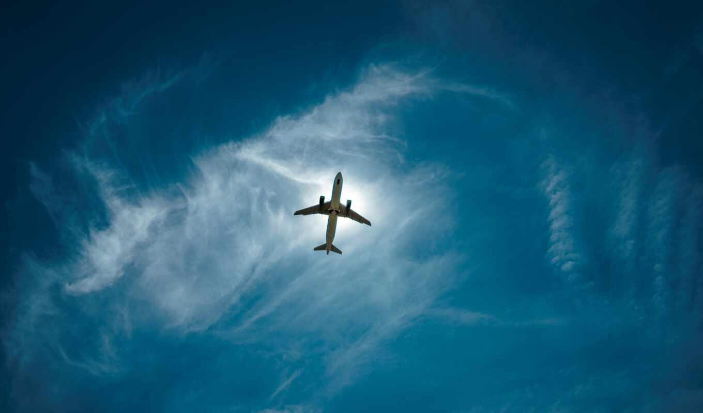 небо, plane, weed, облако, height, взгляд, ниже