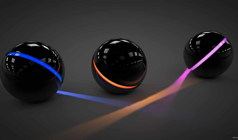 шары, линии, свет, три, арт, сферы, розовый, отражение,