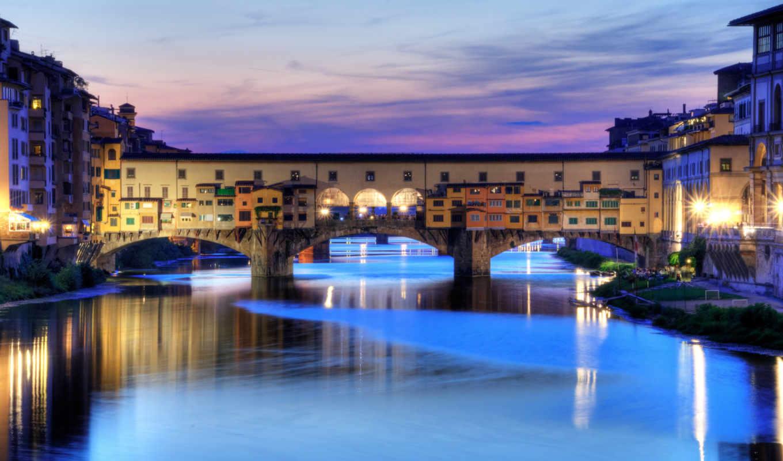понте, веккио, флоренция, италия, река, вода, вечер, огни, город,