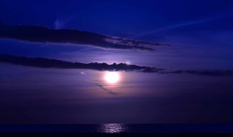 luna, oblaka, noch, морем, над, more, фиолетовые, волны, полная, ночным,