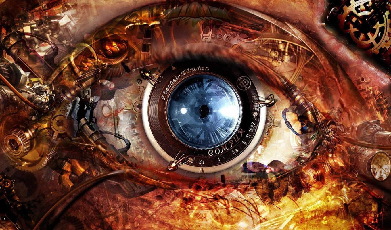 глаз, механизм, февр, mechanical, часов, fantasy,