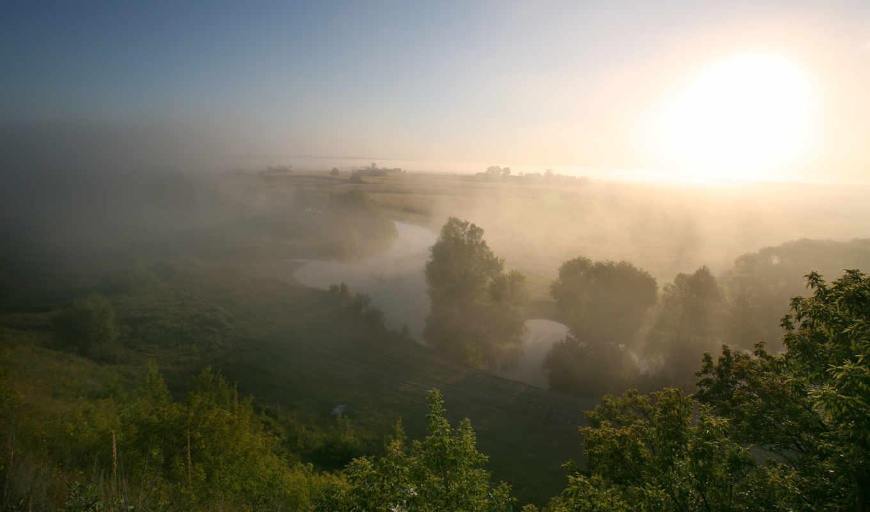 туман, утро, река, summer, луг, значок,