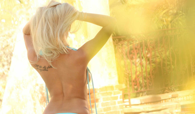 blonde, девушка, татуировка, спина, купальнике, роза, волосы, нижнее, bailey, sexy, panties,