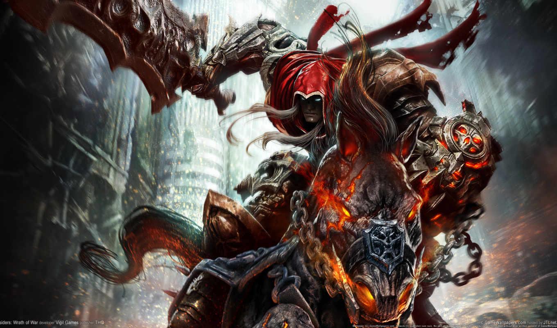 darksiders, смерть, всадник, wrath, war, игры, меч, картинка, лошадь, демон,