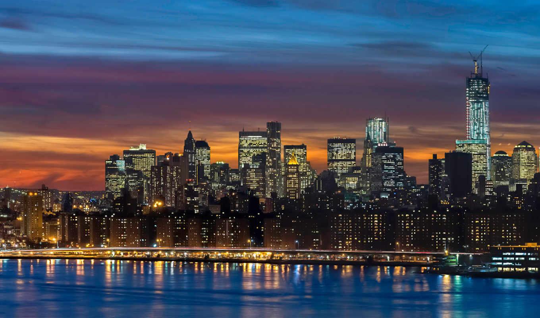 new, skyline, por, manhattan, york, панорама,