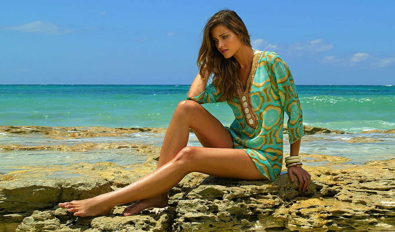 девушка, devushki, берегу, океана, зеленом, моря, сидит, банка, платье,