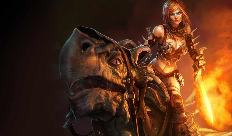 golden, axe, rider, game, beast, fire, desktop, games, flare, tyris, arcade, women, fantasy, flames,