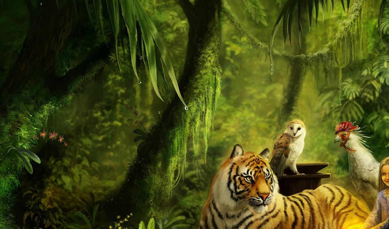 животные, тигр, девочка, маленькая, джунгли, art, рисунок, красота, photos, images, awesome,