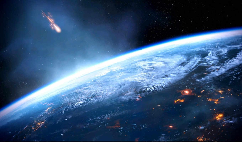 планета, земля, метеорит, effect, mass, картинку, картинка,