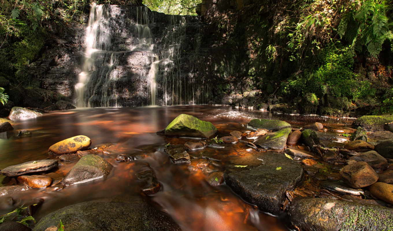 природа, река, водопад, лето, картинка, картинку,