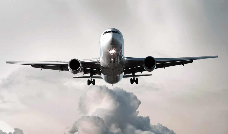 самолёт, самолета, самолеты, облака, огни, картинку, посадка, полет,