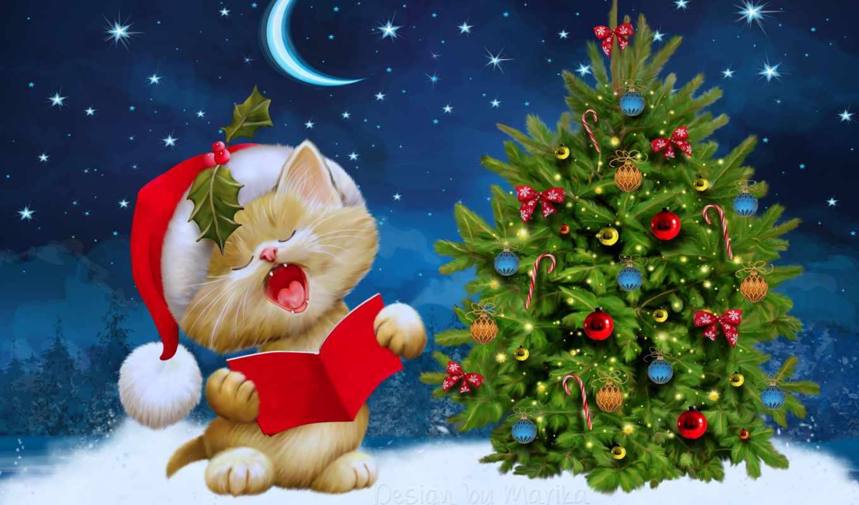 год, new, новогодние, елка, кот,