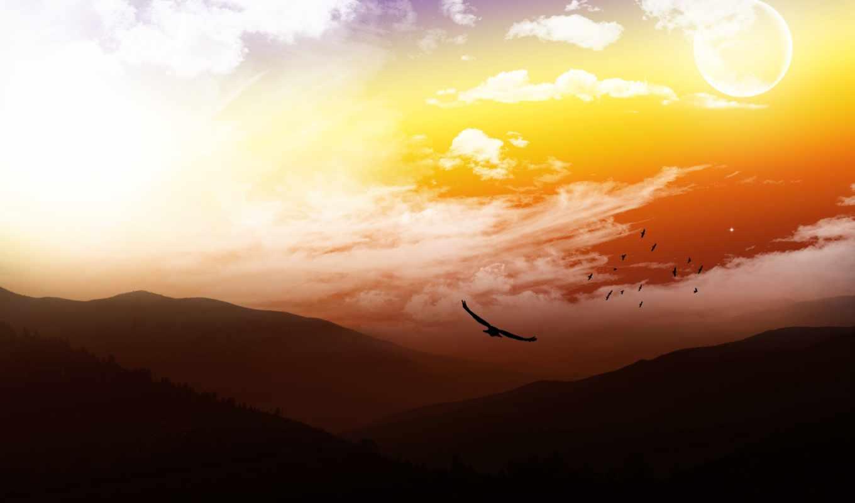 птицы, горы, небо, landscape,