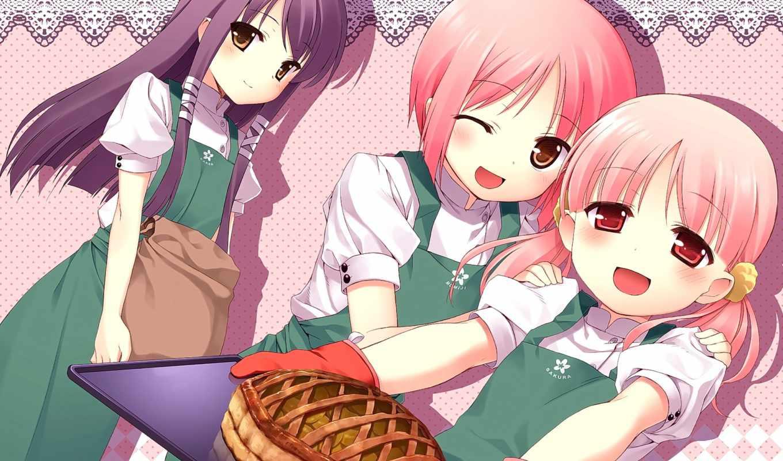cartoon, girls, Сакура, девушка, musubi, high, anime,