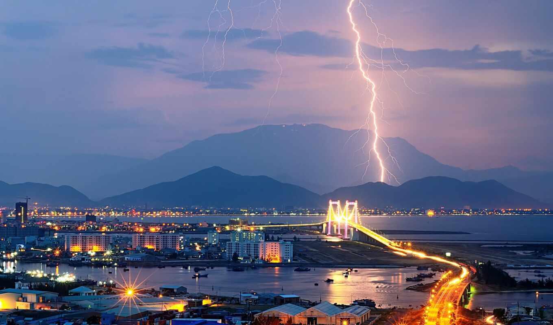 гора, город, lightning, огни