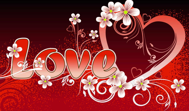 love, красный, сердце, рисунок, цветы