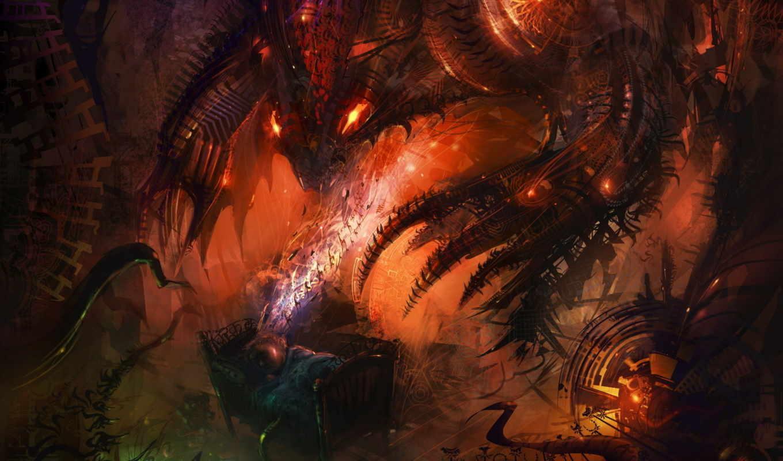 nightmare, monster, ужас, arts, спать, epic, fantasy, ребенок, кровать,