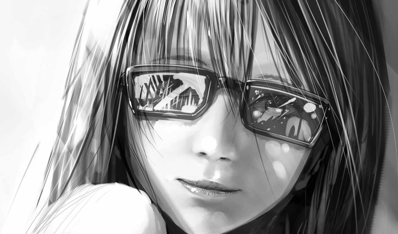 devushki, очки, девушка, отражение,