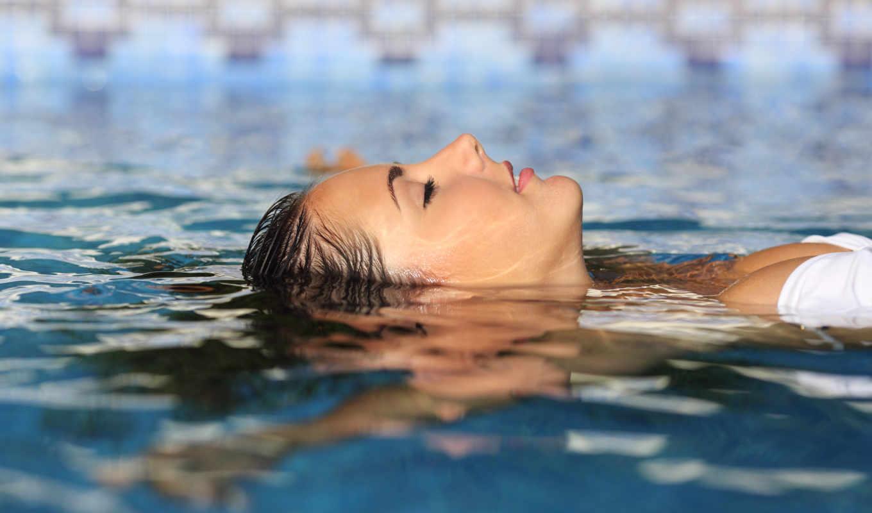 flotando, agua, mujer, плавающий, piscina, imágenes, fotos, archivo, una,