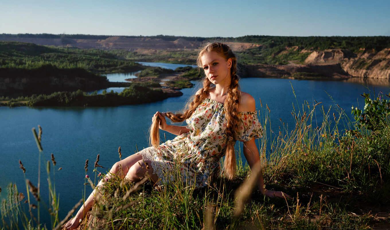 модель, девушка, depth, сергей, женщина, mad, платье, поле, косичка