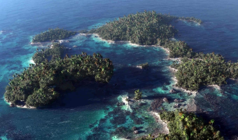 обои, море, океан, острова, фото, пальмы, арт, klo