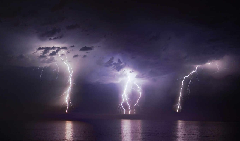 молния, море, молнии,