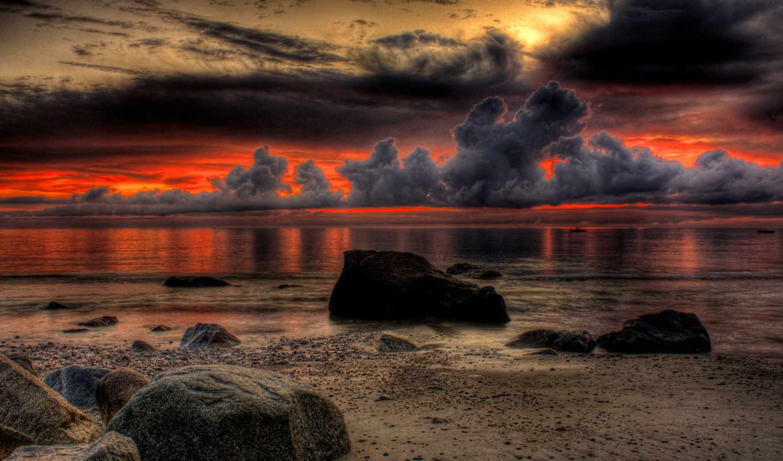 scenery, закат, природа, landscape, небо, ocean, море, пляж, тона,