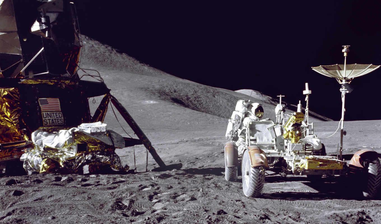 астронавт, луна, apollo, луномобиль,
