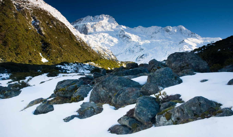 новая, zealand, горы, новой, зеландии, sun, снег,