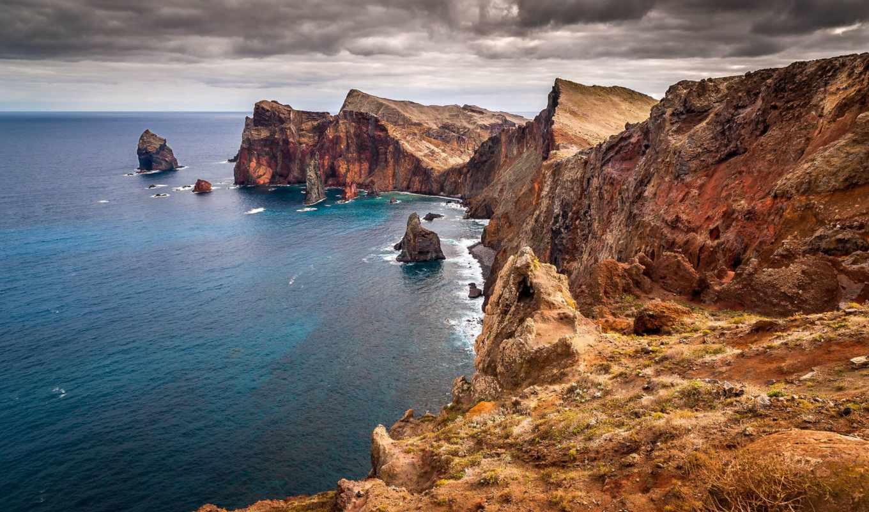 break, скалы, море, камни, oblaka, водопад,