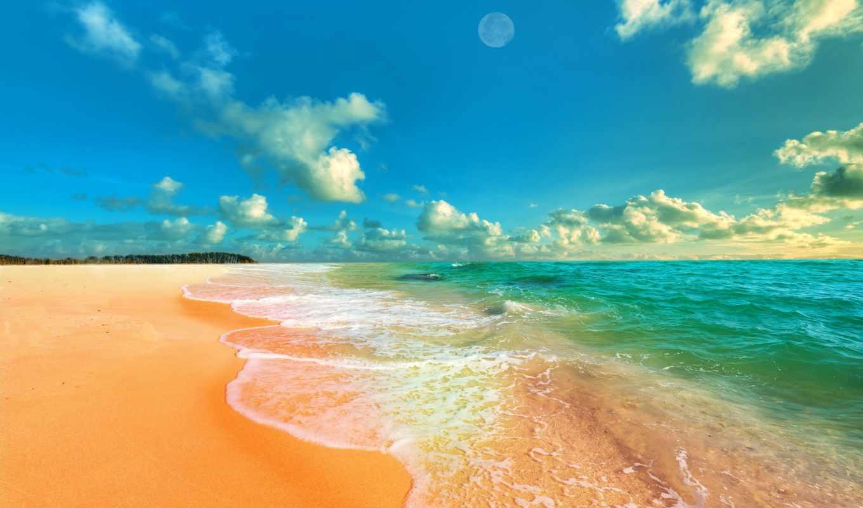 море, ocean, пляж, песок, seascape, waves, монитор